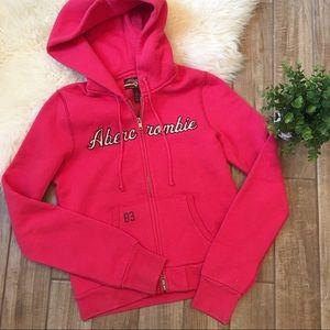 Abercrombie & Fitch pink zip hoodie sweatshirt L
